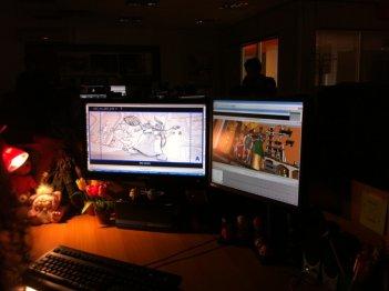Gladiatori di Roma: un'animatrice al lavoro nel corso della nostra visita agli studi Rainbow CGI