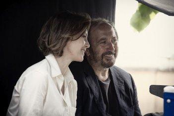 Il rosso e il blu: il regista Giuseppe Piccioni con Margherita Buy sul set del film