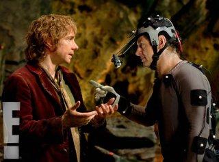 Martin Freeman e Andy Serkis scherzano in una pausa della lavorazione di Lo Hobbit - Un viaggio inaspettato