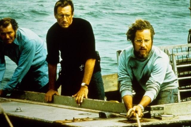 Lo squalo: Roy Scheider, Richard Dreyfuss e Robert Shaw in una scena del film