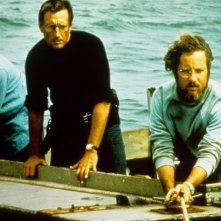 Lo squalo: Roy Scheider, Richard Dreyfuss e Robert Shaw in una scena del film