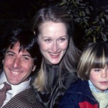 Dustin Hoffman con Meryl Streep sul set di Kramer contro Kramer con Justin Henry