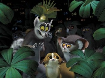 Re Julien, Mortino e Maurice in una scena del film Madagascar