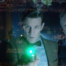 Arthur Darvill, Matt Smith e Mark Williams nell'episodio Dinosaurs on a Spaceship della settima stagione di Doctor Who
