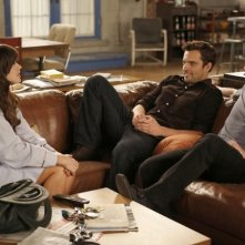 New Girl: Zooey Deschanel, Jake Johnson e Max Greenfield nell'episodio Katie