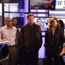 Castle: Tyrees Allen, Stana Katic e Nathan Fillion nell'episodio Cloudy With a Chance of Murder