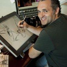 Hotel Transylvania: il regista Genndy Tartakovsky a lavoro sullo storyboard