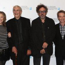Tim Burton con i doppiatori di Frankenweenie Catherine O'Hara, Martin Short e Martin Landau al BFI London FIlm Festival