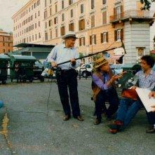 Barnabei sul set del film documentario Complimenti che carattere, con Gianni Musy e Francesco Gabriele