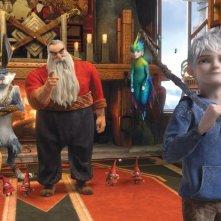 Le 5 leggende: Santa Claus, Jack Frost, il Calmoniglio e Sandman e la Fatina dei dentini in una scena