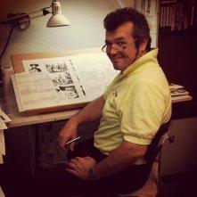 Claudio Villa, disegnatore e copertinista di Tex Willer, davanti alle telecamere di Fumettology