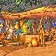 Zambezia: il giovane Kai in una scena del film insieme all'amico Ezee fa gossip con gli altri uccelli