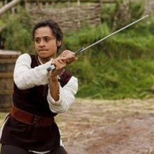 Merlin: Angel Coulby durante una scena dell'episodio Momento della verità, della prima stagione