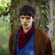 Merlin: Colin Morgan durante una scena dell'episodio Uccidere il Re della prima stagione