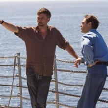 Paul Thomas Anderson e Joaquin Phoenix su una barca durante le riprese di The Master