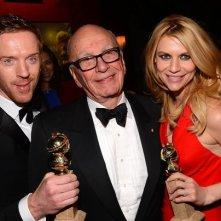 Golden Globes 2013: Rupert Murdoch con Damian Lewis e Claire Danes, al party post-cerimonia