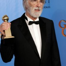 Michael Haneke con il Golden Globe 2013 come miglior film straniero per Amour
