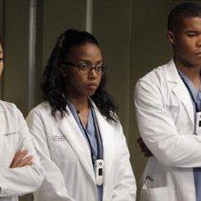 Grey's Anatomy: Sandra Oh, Jerrika Hinton e Gaius Charles nell'episodio I Was Made for Lovin' You, della nona stagione