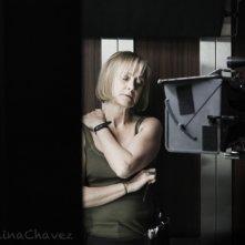 Caroline Goodall sul set di The Elevator di Massimo Coglitore