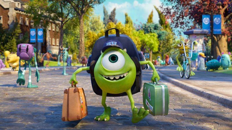 Monsters University: Mike con le sue cartelle si dirige verso la scuola in una scena