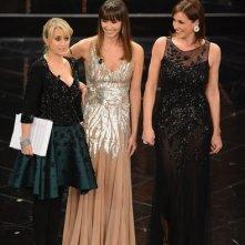 Sanremo 2013: Luciana Littizzetto durante la prima serata con Benedetta e Cristina Parodi