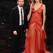 Sanremo 2013: Max Biaggi con Eleonora Pedron durante la seconda serata