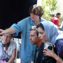 Khalifa Natour e Areen Omari sul set de Il figlio dell'altra con la regista Lorraine Levy