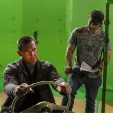 Sin City - Una donna per cui uccidere: Josh Brolin e Robert Rodriguez sul set davanti al green screen