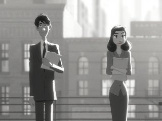 Paperman: George e Meg in una scena del cortometraggio animato