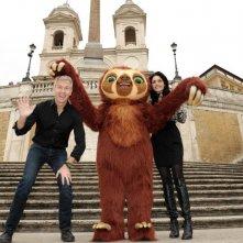 I Croods: Laccio il bradipo a Roma insieme al regista Chris Sanders e a Rosalia Misseri (doppiatrice di Hip)