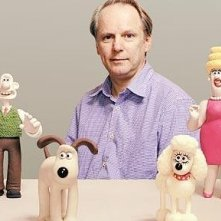 Nick Park con i personaggi di Wallace and Gromit