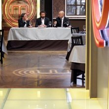 Bruno Barbieri, Carlo Cracco e Joe Bastianich, giudici della seconda edizione di Masterchef durante una puntata