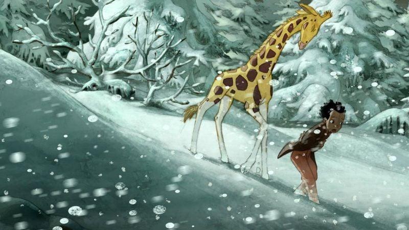 Le Avventure Di Zarafa Giraffa Giramondo Maki E Zarafa Nel Mezzo Di Una Bufera Di Neve In Una Scena 268320