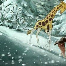 Le avventure di Zarafa - Giraffa Giramondo: Maki e Zarafa nel mezzo di una bufera di neve in una scena