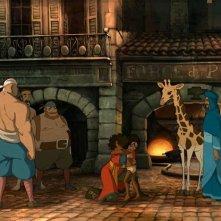 Le avventure di Zarafa - Giraffa Giramondo: Maki e Zarafa in una scena del film d'animazione