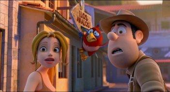 Le avventure di Taddeo l'esploratore: Taddeo con Sara e il pappagallo muto Belzoni in una scena del film