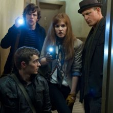 Now You See Me: Isla Fisher, Dave Franco, Jesse Eisenberg e Woody Harrelson in una scena
