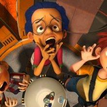 Dino e la macchina del tempo: i tre giovani protagonisti in una divertente scena