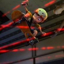 Dino e la macchina del tempo: il giovane Ernie col suo skateboard in una scena