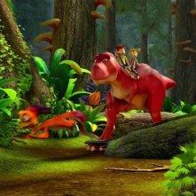 Dino e la macchina del tempo: una colorata immagine tratta dal film