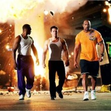 Mark Wahlberg, Anthony Mackie e Dwayne Johnson in Pain & Gain di Michael Bay