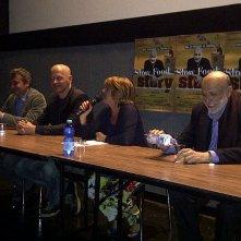 Slow Food Story: il regista Stefano Sardo con Lella Costa, Nicola Giuliano e Carlo Petrini in conferenza stampa a Roma