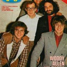 Woody Allen con i Gatti di Vicolo Miracoli su una copertina di TV Sorrisi e Canzoni (aprile 1980)