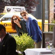 Smash: Debra Messing e Christian Borle in una scena dell'episodio On Broadway