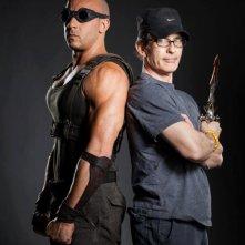 Riddick: Vin Diesel in una foto promozionale insieme al regista David Twohy