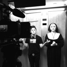 Filadelfio (Claudio Giglio) e Suor Rina (Elisa Sensi) sul set di UP & DOWN