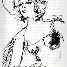 Franca Rame in un disegno di Dario Fo