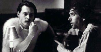 Johnny Depp sul set di Ed Wood con Tim Burton