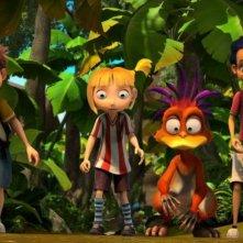 Dino e la macchina del tempo: Dino, Giulia e Max insieme al loro amico dinosauro in una scena