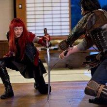 Wolverine: L'immortale, Rila Fukushima nei panni di Yukio in una scena di combattimento